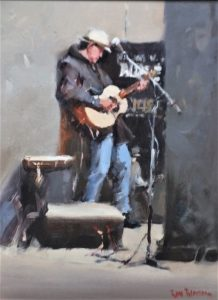watercolour painting by Ross Paterson titled The Guitarist