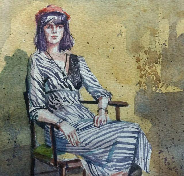 Peneloppe Gilbert-ng watercolour portrait of Jennifer